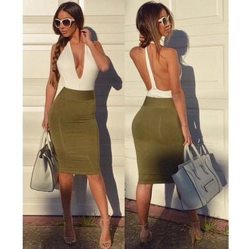 Deep V-neck Women Backless Bandage Bodycon Evening Party Club Mini Dress  A_L CB037084 = 1655768004