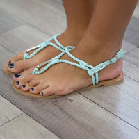 Double Braided Thong Sandals - Mint