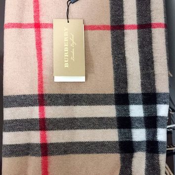 Authentic Burberry Cashmere Giant Check Scarf, Camel Check