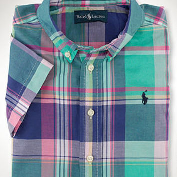 Ralph Lauren Kids Shirt, Boys Blake Short-Sleeved Plaid Shirt - Kids Boys 8-20 - Macy's
