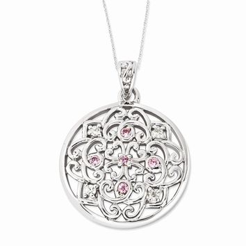 Rhodium Plated Sterling & CZ Love Binds Us Together Necklace, 18 Inch