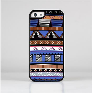 The Abstract Blue and Brown Shaped Aztec Skin-Sert for the Apple iPhone 5c Skin-Sert Case