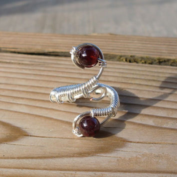 Wire Wrapped Natural Garnet Ring - Size 5