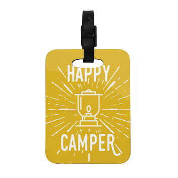 "Jackie Rose ""Happy Camper"" Yellow Typography Decorative Luggage Tag"