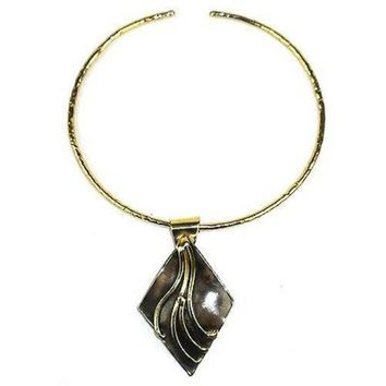 Brass Diamond Squiggly Pendant Necklace - Brass Images (N)