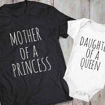 Mother daughter matching shirts, mother daughter matching T-shirts, Mother of a princess daughter of a queen, matching shirt, UNISEX