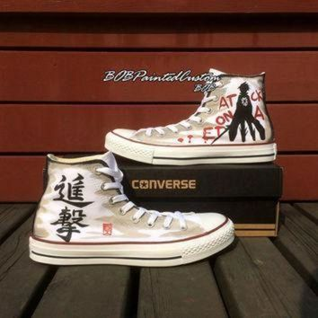 CREYON birthday gifts for anime lover white high top converse hand painted anime sneaker men