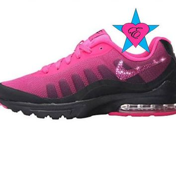 Custom Crystal Bedazzled Women Pink Nike Air Max Invigor Print