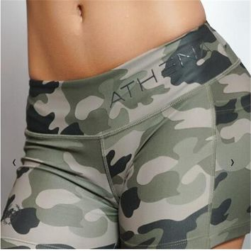 2018 Summer Women Shorts Camouflage Compression Women Shorts Girls Bodybuilding Shorts