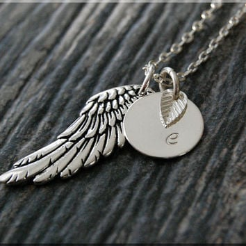 Silver Angel Wing Charm Necklace, Initial Charm Necklace, Personalized, Feathered Wing Charm, Angel Pendant, Angel Wing Jewelry