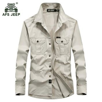 AFS JEEP 2017 Plus size M-6XL Europe men's autumn military quality casual brand long sleeve shirt spring man 100% cotton shirts