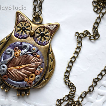 Owl Necklace - Steampunk Necklace - Steampunk Pendant - Mixed Media Jewelry - Polymer Clay Necklace - Polymer Clay Pendant - Steampunk Owl