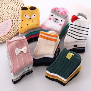 2018 Lovely Cute Children's Socks Animals Infant New Cartoon Autumn and winter Soft Cotton Tube Baby Girl Boy Socks 1 to 12 Y