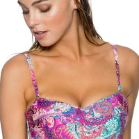 Sunsets Separates Paisley Peacock - Iconic Twist Underwire Twist Bandeau Bikini Top