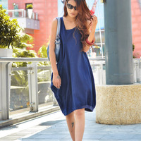 Deep Blue Single Big Pocket Vest Dress NC053 by Sophiaclothing
