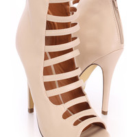Nude Strappy Single Sole Booties Faux Leather