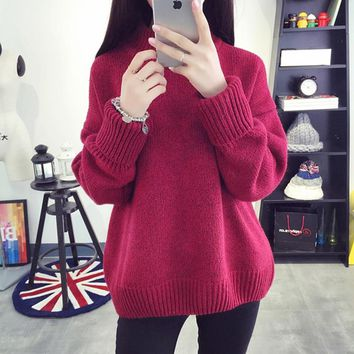 Thick Winter Cable Knitted Oversized Sweater Coarse Pullover Women Jumper Turtleneck Sweater Female Jumper Women Warm Sweater