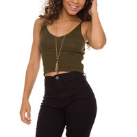 Zoe Knit Crop Top - Olive