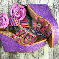 Boho tribal wedge heels gypsy rose bohemian by TrueRebelClothing