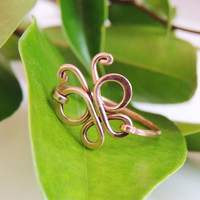butterfly copper wire ring custom size - handmare hammered - gift rings- unique ring