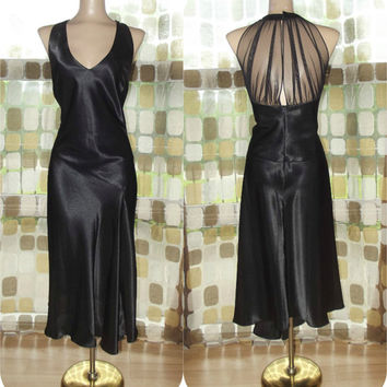 Vintage 90s Retro 20s Black Satin Sheer Back Flapper Dress 14 L/XL Drop Waist Formal Gown Gatsby