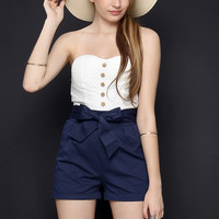 Button Up Tubetop Romper