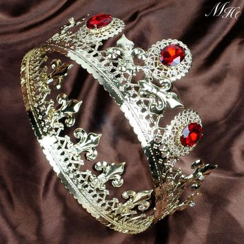 "Red Crystal Gold Tiaras Full Round Crowns 3.5"" Imperial Medieval Headband Hair Jewelry Bridal Pageant Party Costumes Art Deco"