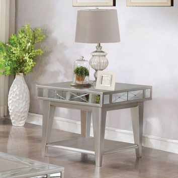 Solid Wooden End Table With X Etched Mirror Accents And Shelf, Silver Gray - 720887