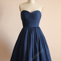 Vintage Navy Blue Polka Dots Tulle Wedding Dress Bridesmaid Dress Prom Dress Strapless Sweetheart Knee Short Dress