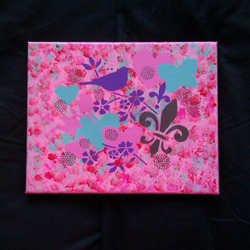 canvas painting - Bird flower heart fleur de lis collage canvas painting for girls room #painting #art #girlsroom #etsy