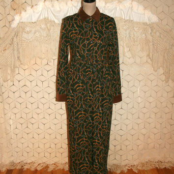 90s Maxi Fall Winter Long Sleeve Dress Medium Casual Cotton Womens Dresses Pockets Corduroy Equestrian Green Jones New York Womens Clothing
