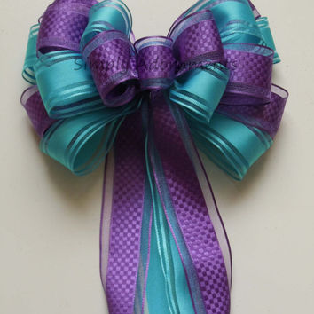 Purple Blue Peacock Wedding Pew Bow Aqua Blue Orchid Party Decoration Bow Wedding Chair Bow Bridal Shower Decoration Bows Large Gift Bows
