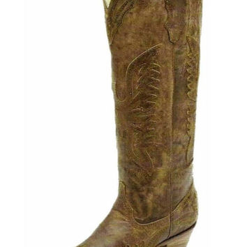 Corral Vintage Brown Tall Inlay Western Boots R2295