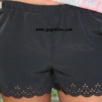 Short and Sweet Scalloped Shorts in Black