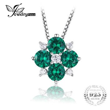 JewelryPalace 1.45ct Created Emerald Lucky Clover Necklace Pendant Charms 925 Sterling Silver Fine Jewelry Not Include the Chain