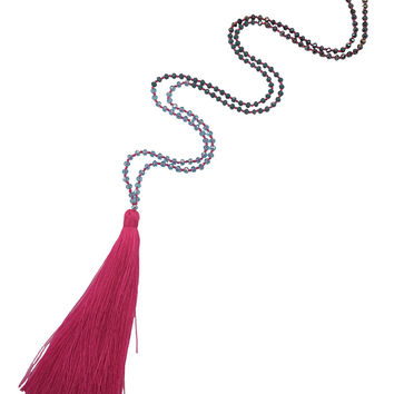 Zacasha | Hot Pink Beaded Tassel Necklace
