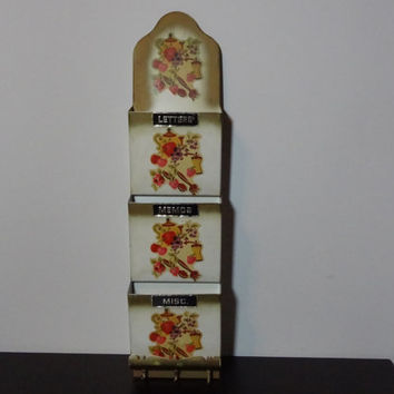 Vintage Cream and Gold Metal Wall Mail Organizer and Key Holder with Three Labeled Slots and Kitsch/Retro Style Kitchen Themed Decals