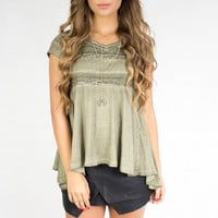 Cambodia Olive Short Sleeve Enzyme Washed Blouse top with Lace trim