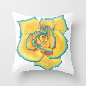 Yellow and Turquoise Rose Throw Pillow by drawingsbylam