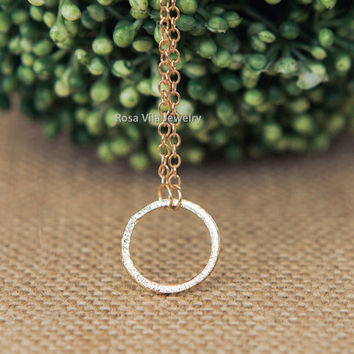 Circle Necklace - gold; dainty, cute and lovely pendant jewelry; infinity circle necklace