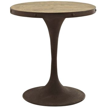 "Drive 28"" Industrial Modern Round Wood Top Dining Table"