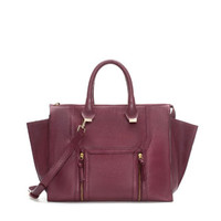 LEATHER CITY BAG WITH METAL DETAILING   ZARA