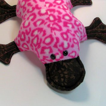 Peony Platypus, magenta, brown, leopard print, pink, quilted, webfoot