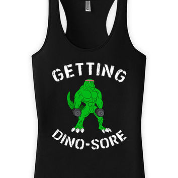 Funny Workout Tank Getting Dino-Sore Lifting Tank Top Racer Back Tank American Apparel Training Clothing Gym Tank Top Womens Tanks WT-175