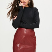 Missguided - Red Curve Hem Zip Back Faux Leather Skirt