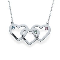 Intertwined Hearts Necklace with Birthstones - Custom Made with Any Name!