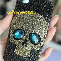 iPhone 5 Case stylish Steampunk iPhone Cases,Skull with Blue Eyes black Swarovski rhinestone iPhone 4 cases, iPhone 4S Case, Galaxy S3 Case