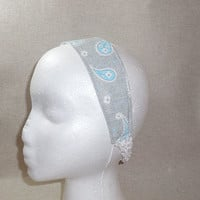 Pretty Gray and Blue Paisley Headband