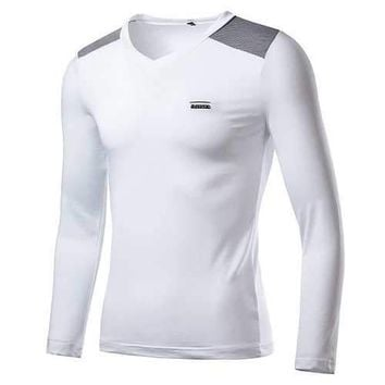 Mens Fashion Slim Color Block V-neck Long Sleeve Casual T-Shirt