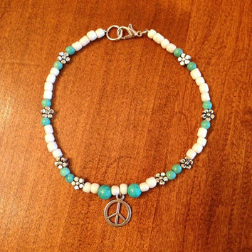 Turquoise & White Beaded Heart Flower Bracelet Beach Anklet Summertime Jewelry Sun tan Bohemian Chic Peace Charm